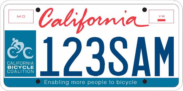 CA bike license plate