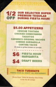 El Cholo HH menu