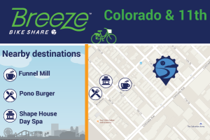 Colorado & 11th connects to Funnel Mill, Pono Burger, Shape House Day Spa