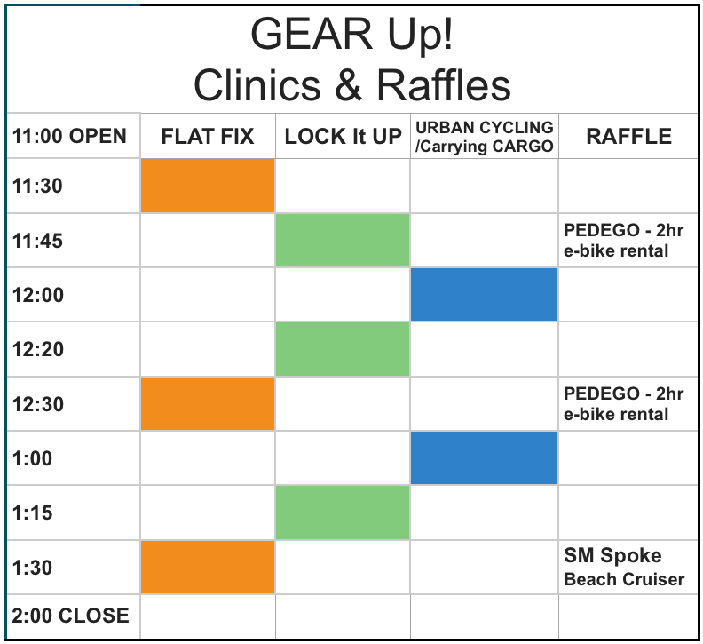 Gear up Clinics & Raffles times